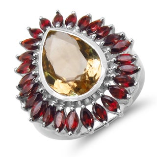 Malaika .925 Sterling Silver 8.32 Carat Genuine Citrine & Garnet Ring