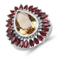 Malaika .925 Sterling Silver 8.32 Carat Genuine Citrine & Garnet Ring