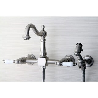 Victorian Wallmount Satin Nickel Kitchen Faucet with Side Sprayer