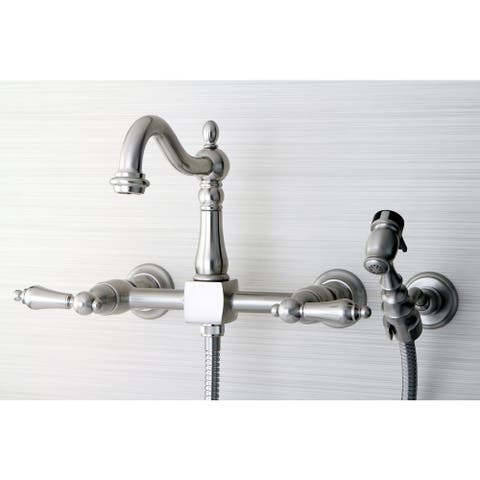 Victorian Wallmount Satin Nickel Kitchen Faucet with Side Sprayer