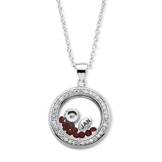 Silvertone 1/2ct Birthstone and Cubic Zirconia and Austrian Crystal Floating Charm Pendant|https://ak1.ostkcdn.com/images/products/10634885/P17703385.jpg?impolicy=medium
