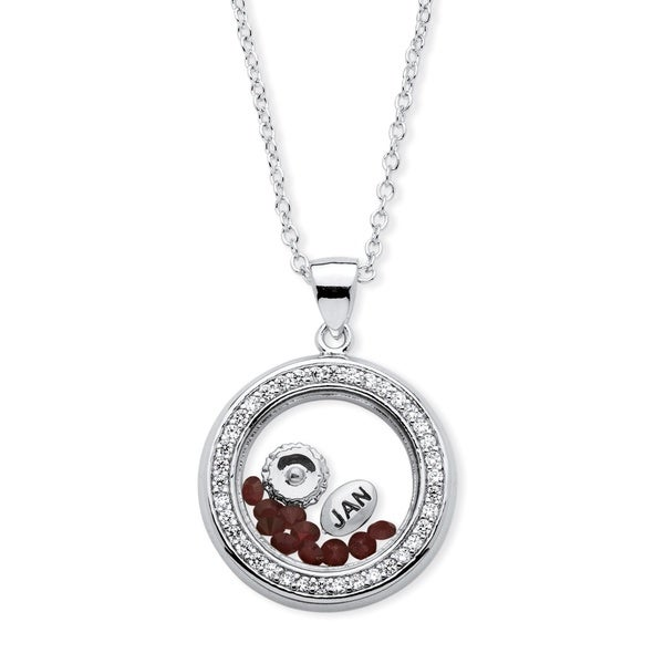 Silver Tone Charm Pendant (22mm) Round Cubic Zirconia and Round Simulated and Blue Made with Swarovski Elements. Opens flyout.