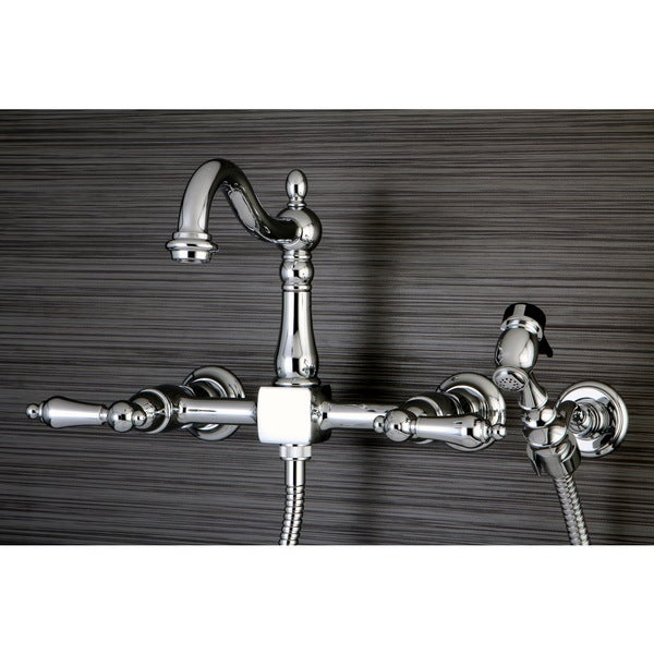 wall mount kitchen faucet with sprayer shop victorian wallmount chrome kitchen faucet with side sprayer free shipping today 9649