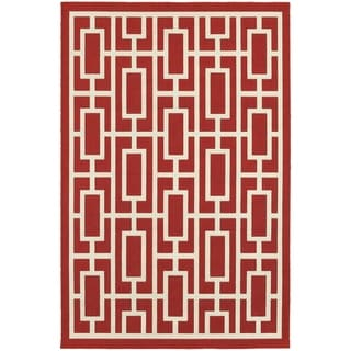 StyleHaven Geometric Red/Ivory Indoor-Outdoor Area Rug (8'6x13')