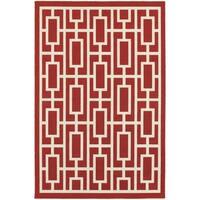 "StyleHaven Geometric Red/Ivory Indoor-Outdoor Area Rug (8'6x13') - 8'6"" x 13'"