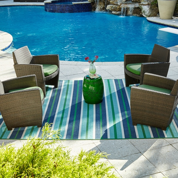 """StyleHaven Striped Blue/Green Indoor-Outdoor Area Rug (8'6x13') - 8'6"""" x 13'"""