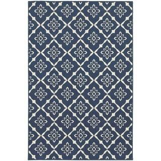 StyleHaven Lattice Navy/Ivory Indoor-Outdoor Area Rug (8'6x13')
