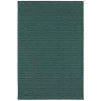 """StyleHaven Geometric Navy/Green Indoor-Outdoor Area Rug (8'6x13') - 8'6"""" x 13'"""