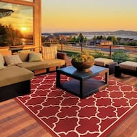 StyleHaven Lattice Red/Ivory Indoor-Outdoor Area Rug - 8'6 x 13'