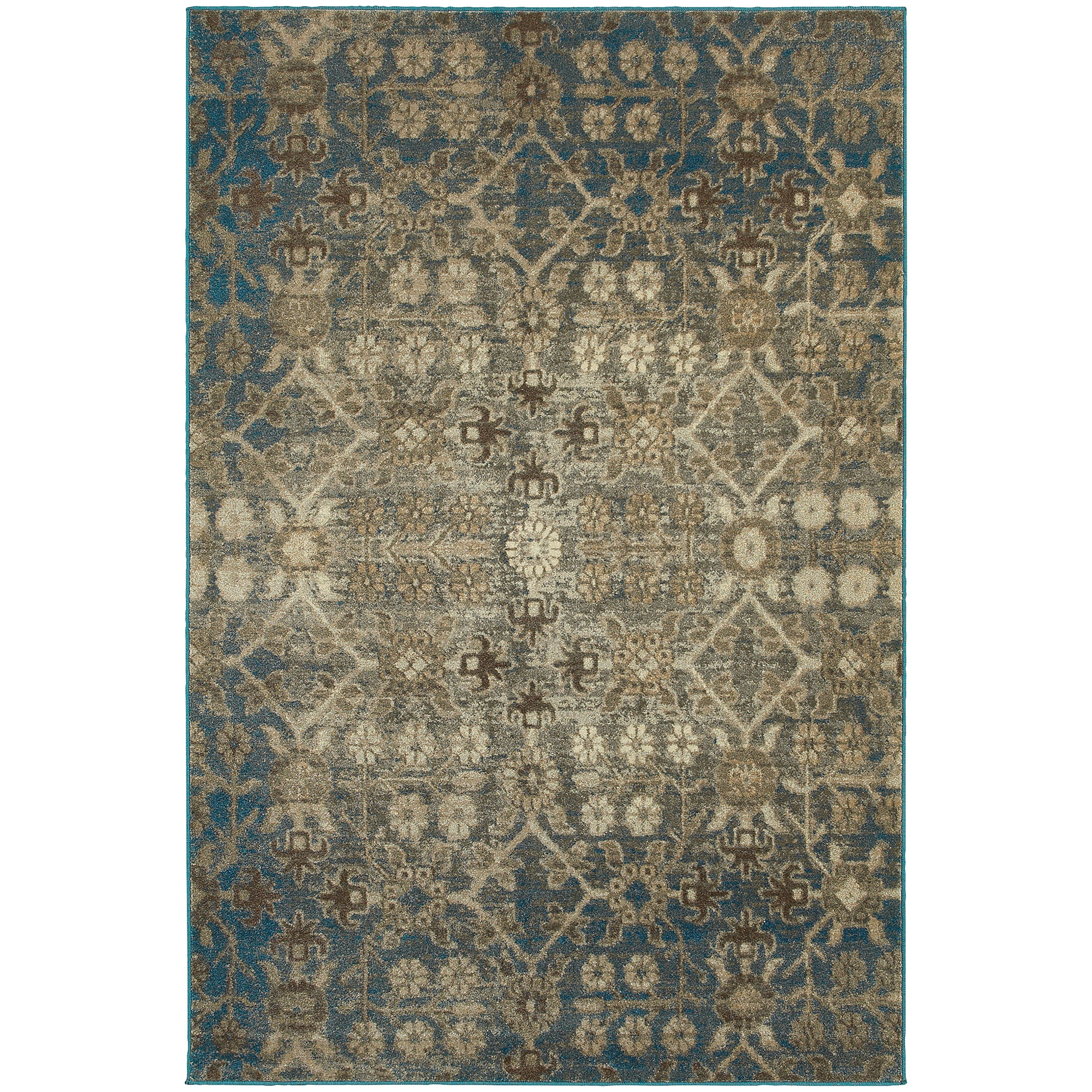 Shop Faded Traditional Beige Blue Rug 7 10 Quot X 10 10