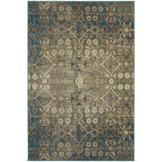"""Faded Traditional Beige/ Blue Rug (7'10"""" X 10'10"""")"""