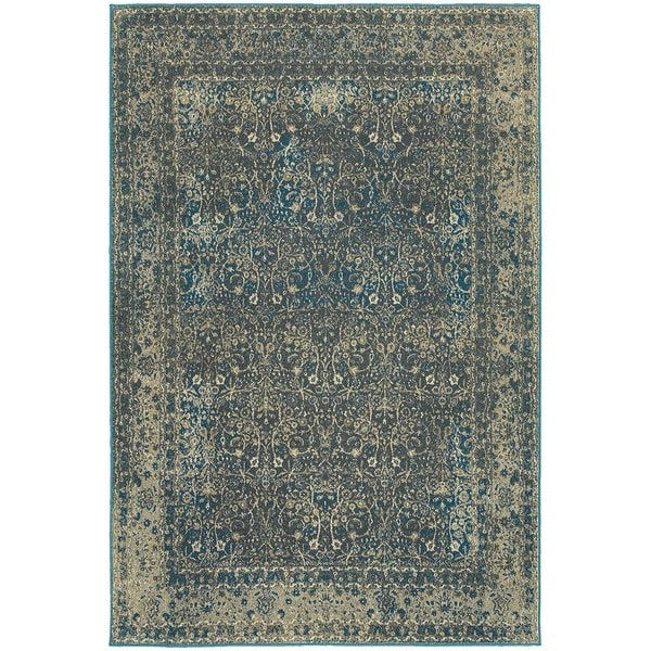 Faded Traditional Navy Grey Rug 7 10 Quot X 10 10 Quot Free