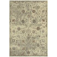 "Distressed Traditional Floral Beige/ Grey Rug - 7'10"" X 10'10"""