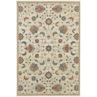 "Updated Traditional Floral Beige/ Multi Rug (7'10"" X 10'10"") - 7'10"" x 10'10"""