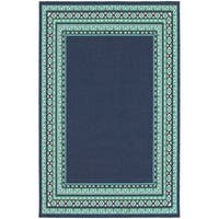 Clay Alder Home Variadero Borders Navy/ Green Indoor-Outdoor Area Rug - 7'10 x 10'10