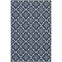 Carson Carrington Landskrona Lattice Navy/Ivory Indoor-Outdoor Area Rug (7'10 x 10'10)
