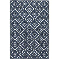 Carson Carrington Akersberga Lattice Navy/Ivory Indoor-Outdoor Area Rug - 7'10 x 10'10
