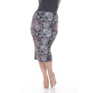 White Mark Women's Plus Size Multicolor Paisley Print Pencil Skirt (Option: 3x)