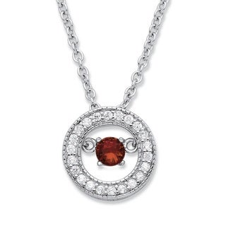 PalmBeach Sterling Silver 1/5ct 'CZ in Motion' Birthstone and CZ Halo Pendant Color Fun