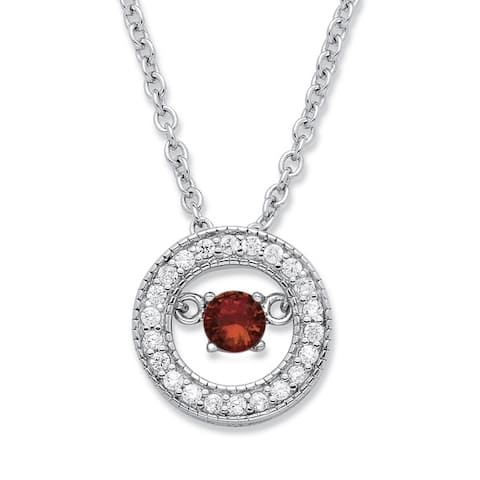 Sterling Silver 1/5ct 'CZ in Motion' Birthstone and CZ Halo Pendant Color Fun