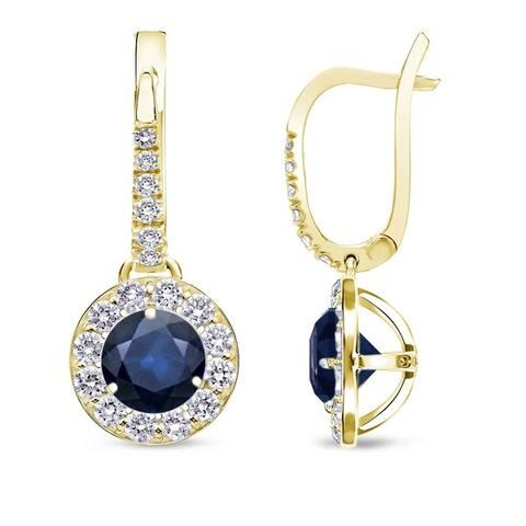 Auriya 1/2ct Blue Sapphire Halo Diamond Dangle Earrings 1/2cttw 14k Gold