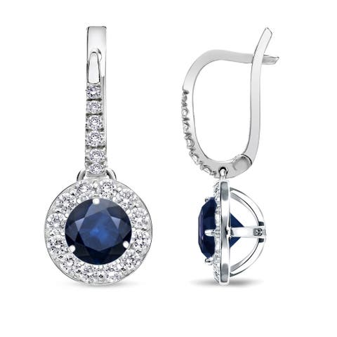 14k Gold Round 1/3ct Blue Sapphire and 2/5ct TDW Diamond Halo Dangle Earrings by Auriya