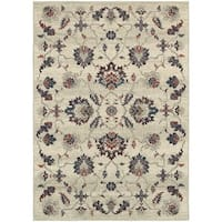 "Global Influence Floral Traditional Beige/ Multi Rug (7'10"" X 10'10"") - 7'10 x 10'10"