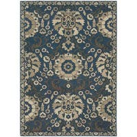"""Global Influence Floral Traditional Midnight/ Beige Rug (7'10"""" X 10'10"""") - 7'10 x 10'10"""