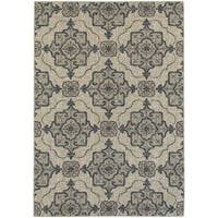 "Global Influence Floral Medallion Beige/ Grey Rug (7'10"" X 10'10"") - 7'10 x 10'10"