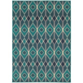 Global Influence Geometric Diamond Blue/ Teal Area Rug (7'10 x 10'10)