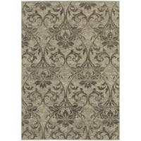 "Global Influence Floral Damask Grey/ Ivory Rug (7'10"" X 10'10"") - 7'10 x 10'10"