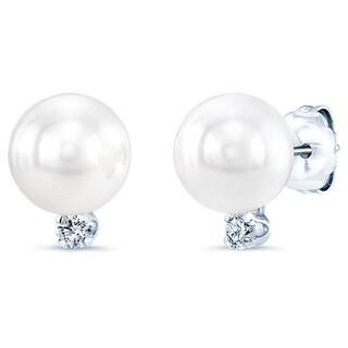 14k White Gold White Akoya Pearl and 1/6ct TDW Diamond Earrings (H-I, SI1-SI2) (8-9mm)