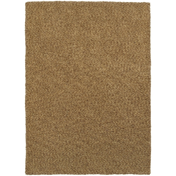 Cozy Indulgence Heathered Gold Shag Rug (8' X 11') - 8' x 11'