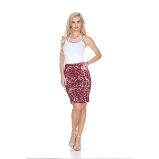 White Mark Women's Red Cheetah Print Pencil Skirt