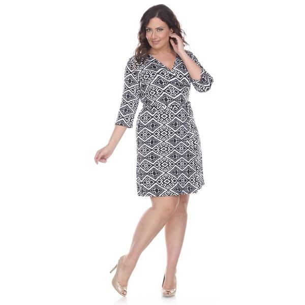 White Mark Women's Plus 'Mariah' Trellis Print Wrap Dress