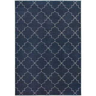 "Scalloped Lattice Heathered Navy/ Ivory Rug (7'10"" X 10'10"")"