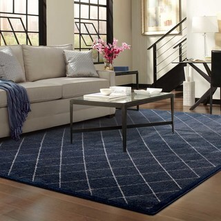 Diamond Trellis Heathered Navy/ Ivory Area Rug (7'10 x 10'10)