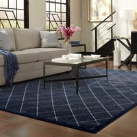 "Diamond Trellis Heathered Navy/ Ivory Rug - 7'10"" X 10'10"""