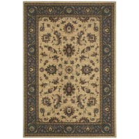 """Updated Old World Persian Flair Ivory/ Blue Area Rug (7'10 x 11') - 7'10"""" x 11'"""