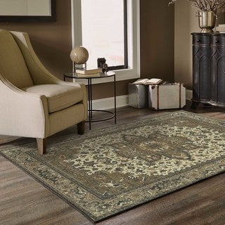 Persian Medallion Ivory/ Grey Area Rug (6'7 x 9'6)
