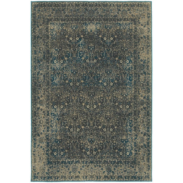 Faded Traditional Teal Blue And Charcoal Area Rug 6 7 X 9