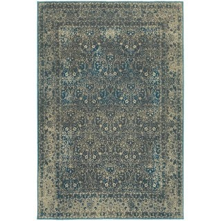 Faded Traditional Teal Blue and Charcoal Area Rug (6'7 x 9'6)