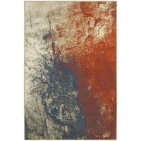 Spilled Paint Beige/ Orange Rug - 6'7 x 9'6