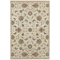 "Updated Traditional Floral Beige/ Multi Rug - 6'7"" X 9'6"""