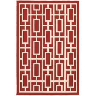 Geometric Lattice Red/ Ivory Indoor Outdoor Area Rug (6'7 x 9'6)