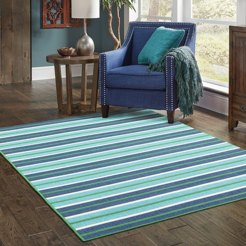"StyleHaven Striped Blue/Green Indoor-Outdoor Area Rug (6'7x9'6) - 6'7"" x 9'6"""