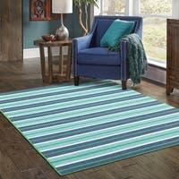 StyleHaven Striped Blue/Green Indoor-Outdoor Area Rug - 6'7 x 9'6