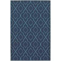 StyleHaven Lattice Navy/Blue Indoor-Outdoor Area Rug - 6'7 x 9'6
