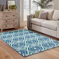StyleHaven Geometric Navy/Green Indoor-Outdoor Area Rug - 6'7 x 9'6