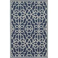 Carson Carrington Partille Geometric Navy/Ivory Indoor-Outdoor Area Rug - 6'7 x 9'6